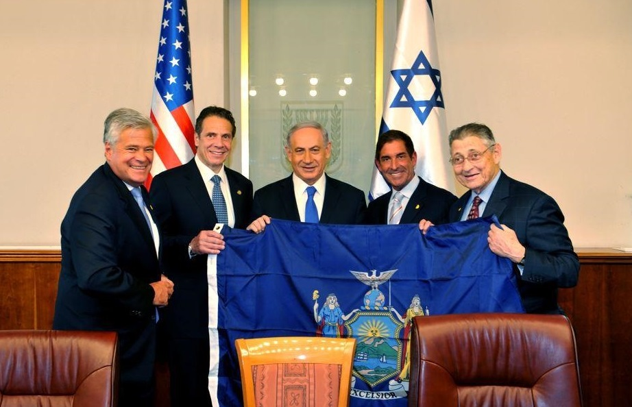 Pictured (l to r): NYS Senate Majority Co-Leader Dean Skelos, Gov. Andrew Cuomo, Israel Prime Minister Benjamin Netanyahu, Senate Majority Co-Leader Jeff Klein and  State Assembly Speaker Sheldon Silver