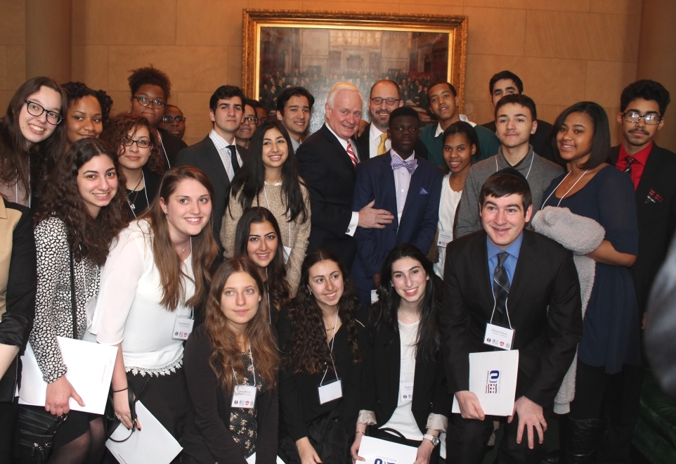 Students from Yeshivah of Flatbush and Nazareth Regional High School met with Senators Martin Golden  and Simcha Felder (center), sponsors of the Education Tax Credit bill in the New York State Senate,  during the OU Advocacy-Teach NYS advocacy mission to Albany.
