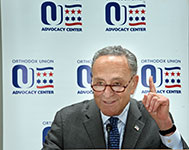 Senator Charles Schumer (D-N.Y.) addresses participants at a lunch during OU Advocacy Center's Annual Leadership Mission to Washington, D.C.