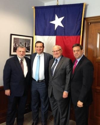 Pictured (l to r): OU Executive Vice President Allen Fagin, Senator Ted Cruz (R-TX), OU President Martin Nachimson, and OU Executive Director for Public Policy Nathan Diament