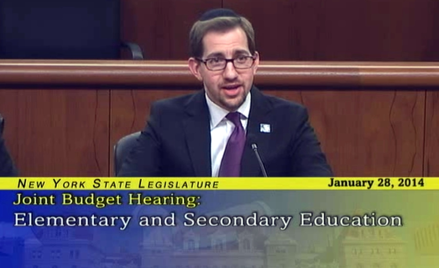 Jeff Leb, Director of OU Advocacy-Teach NYS, testifies before the NY Joint Committee on the Executive Budget on behalf of Jewish day schools.