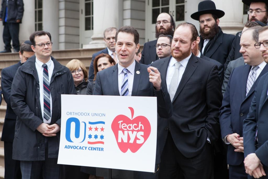 "Council Member Mark Levine (speaking), chairman of the City Council's Jewish caucus, stood alongside Council Members Andrew Cohen, David Greenfield and Rory Lancman, calling for UPK legislation to include non-public schools and be ""truly universal"" at Wednesday's OU Advocacy-Teach NYS press conference at City Hall."